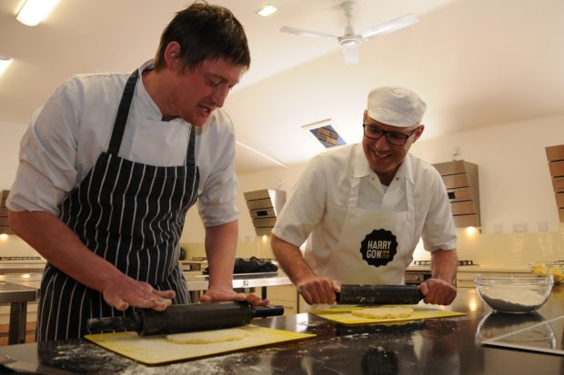 BBC Masterchef Finalist  Darren Sivewright (Pictured Right) and David Gow (Left) from award winning Bakery Harry Gow are to judge the 2016 World Tattie Scone Championship to be held at Piping At Forres, the European Pipe Band Championships.